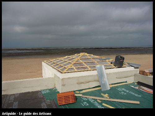 Renovation La Bernerie en retz  toit terrasse vue mer .  Régine Blanchard Maitre d 'œuvre  a Saint Viaud