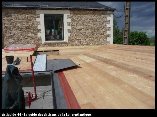 préparation toit  extension Le  Pellerin . Régine Blanchard Maitre d 'œuvre  a Saint Viaud