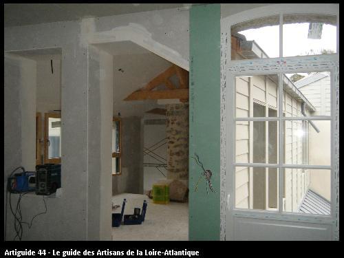 rénovation en plaques de plâtre BA13 chantier CLISSON