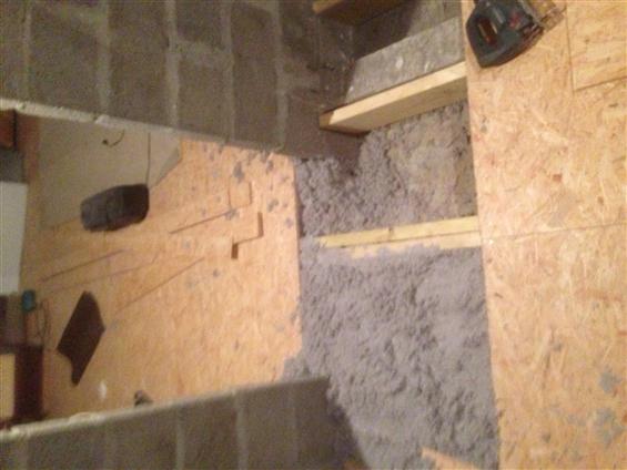 Pose plancher osb sur plancher de comble avec insufflation en ouate de cellulose