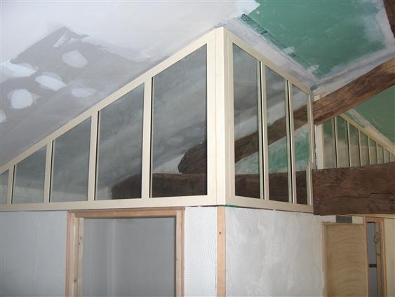Cloison vitrée en cours de chantier. La Bernardière (85610)